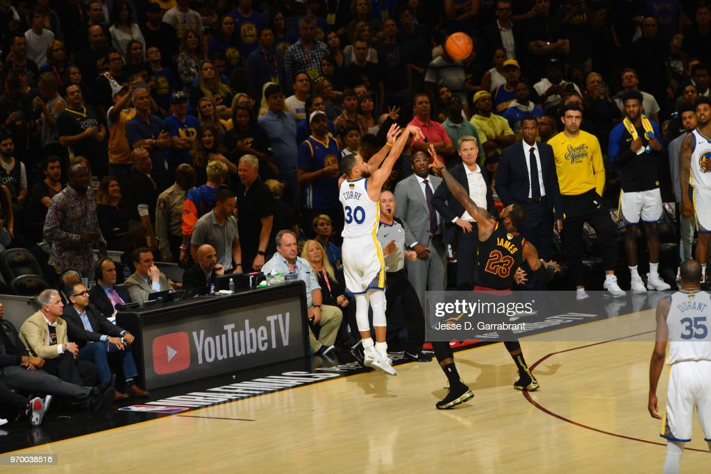 Stephen Curry #30 of the Golden State Warriors shoots a three point basket against the Cleveland Cavaliers in Game Four of the 2018 NBA Finals on June 8, 2018 at Quicken Loans Arena in Cleveland, Ohio.