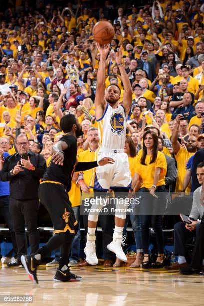 Stephen Curry of the Golden State Warriors shoots a three pointer against the Cleveland Cavaliers in Game Five of the 2017 NBA Finals on June 12 2017...
