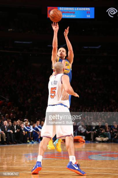 Stephen Curry of the Golden State Warriors shoots a threepointer against Jason Kidd of the New York Knicks on February 27 2013 at Madison Square...