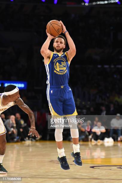 Stephen Curry of the Golden State Warriors shoots a three-pointer against the Los Angeles Lakers during a pre-season game on October 14, 2019 at...