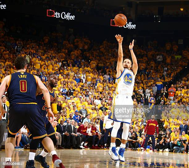 Stephen Curry of the Golden State Warriors shoots against the Cleveland Cavaliers in Game Two of the 2016 NBA Finals on June 5 2016 at Oracle Arena...