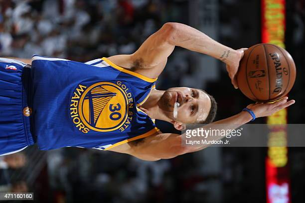 Stephen Curry of the Golden State Warriors shoots against the New Orleans Pelicans during Game Four of the Western Conference Quarterfinals during...