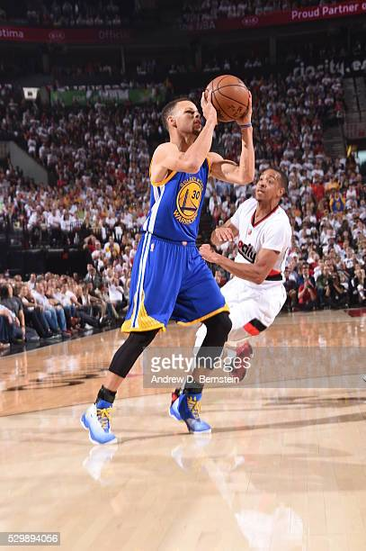 Stephen Curry of the Golden State Warriors shoots against the Portland Trail Blazers in Game Four of the Western Conference Semifinals during the...