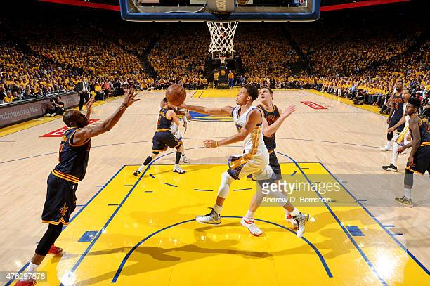 Stephen Curry of the Golden State Warriors shoots during Game Two of the 2015 NBA Finals on June 7 2015 at Oracle Arena in Oakland California NOTE TO...