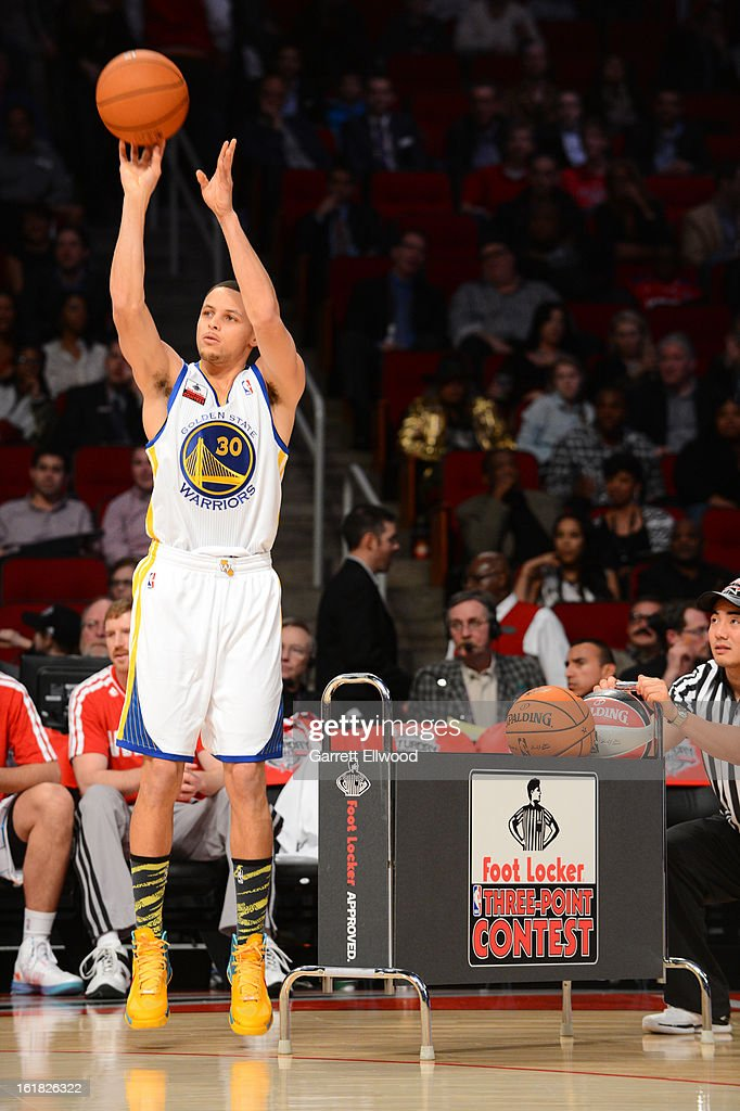 Stephen Curry of the Golden State Warriors shoots during the Foot Locker Three-Point Contest on State Farm All-Star Saturday Night during NBA All Star Weekend on February 16, 2013 at the Toyota Center in Houston, Texas.