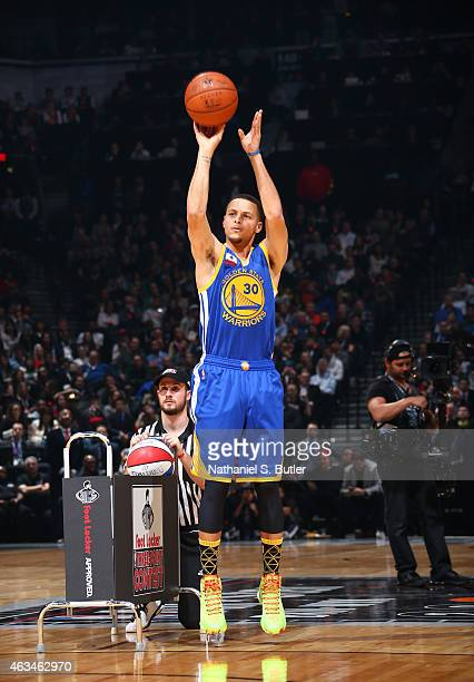 Stephen Curry of the Golden State Warriors shoots during the Foot Locker Three Point Contest on State Farm AllStar Saturday Night as part of the 2015...