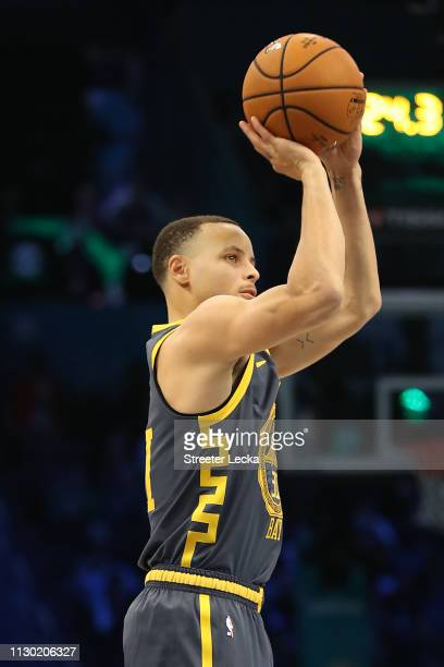 Stephen Curry of the Golden State Warriors shoots during the MTN DEW 3Point Contest as part of the 2019 NBA AllStar Weekend at Spectrum Center on...