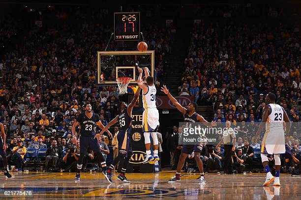 Stephen Curry of the Golden State Warriors shoots hit 13th three pointer of the game and breaking the NBA record during the game against the New...