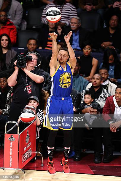 Stephen Curry of the Golden State Warriors shoots in the Foot Locker ThreePoint Contest during NBA AllStar Weekend 2016 at Air Canada Centre on...