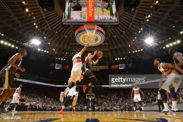 Stephen Curry of the Golden State Warriors shoots the ball against the New Orleans Pelicans on January 16 2019 at ORACLE Arena in Oakland California...