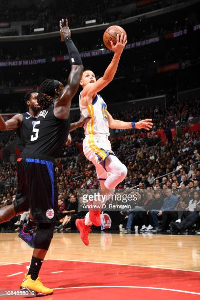 Stephen Curry of the Golden State Warriors shoots the ball against the LA Clippers on January 18 2019 at STAPLES Center in Los Angeles California...