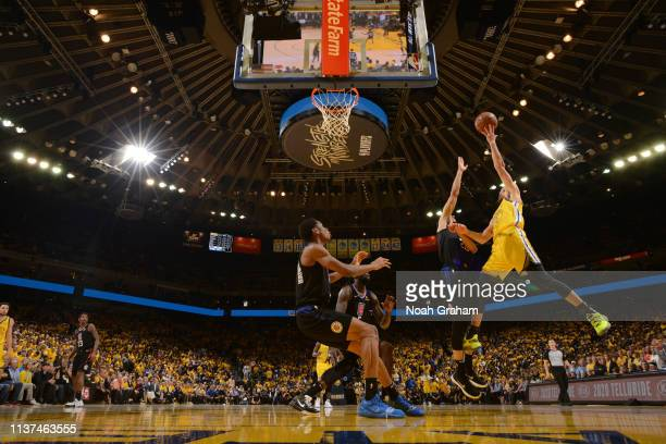 Stephen Curry of the Golden State Warriors shoots the ball against the LA Clippers during Game Two of Round One of the 2019 NBA Playoffs on April 15...