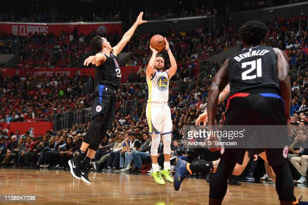 Stephen Curry of the Golden State Warriors shoots the ball against the LA Clippers during Game Four of Round One of the 2019 NBA Playoffs on April 21...