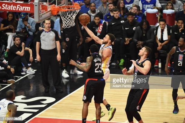 Stephen Curry of the Golden State Warriors shoots the ball against the LA Clippers during Game Six of Round One of the 2019 NBA Playoffs on April 26...