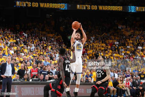 Stephen Curry of the Golden State Warriors shoots the ball against the Toronto Raptors during Game Three of the NBA Finals on June 5, 2019 at ORACLE...