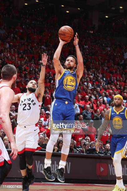Stephen Curry of the Golden State Warriors shoots the ball against the Toronto Raptors during Game Five of the NBA Finals on June 10, 2019 at...