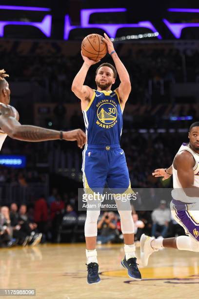 Stephen Curry of the Golden State Warriors shoots the ball against the Los Angeles Lakers during a pre-season game on October 14, 2019 at STAPLES...