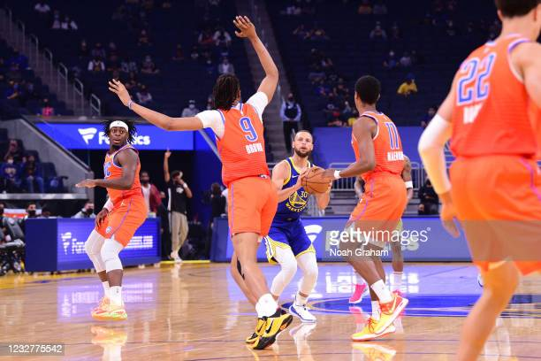 Stephen Curry of the Golden State Warriors shoots the ball against the Oklahoma City Thunder on April 8, 2021 at Chase Center in San Francisco,...