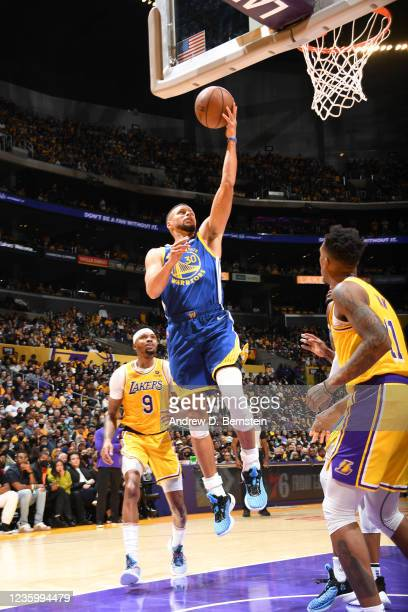 Stephen Curry of the Golden State Warriors shoots the ball against the Los Angeles Lakers on October 19, 2021 at STAPLES Center in Los Angeles,...