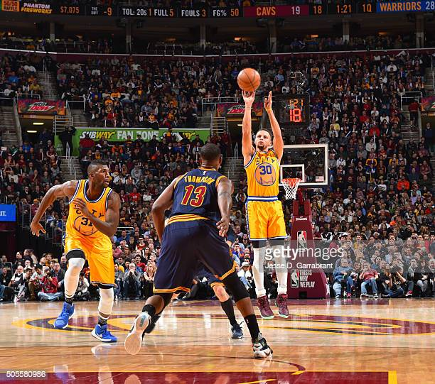 Stephen Curry of the Golden State Warriors shoots the ball against the Cleveland Cavaliers on January 16 2016 at Quicken Loans Arena in Cleveland...