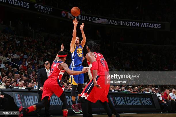 Stephen Curry of the Golden State Warriors shoots the ball against the Washington Wizards on February 3, 2016 at Verizon Center in Washington, DC....