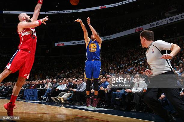 Stephen Curry of the Golden State Warriors shoots the ball against the Washington Wizards on February 3 2016 at Verizon Center in Washington DC NOTE...
