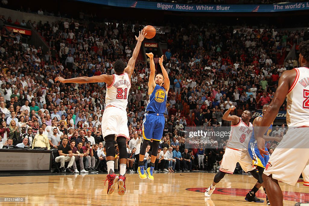 Stephen Curry #30 of the Golden State Warriors shoots the ball against the Miami Heat on February 24, 2016 at American Airlines Arena in Miami, Florida.