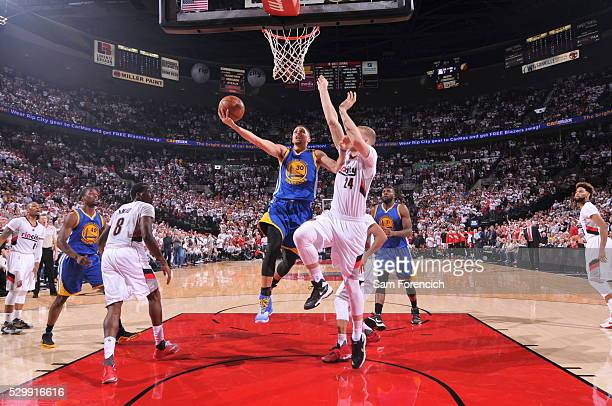 Stephen Curry of the Golden State Warriors shoots the ball against the Portland Trail Blazers in Game Four of the Western Conference Semifinals...
