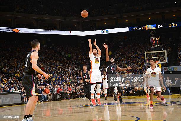 Stephen Curry of the Golden State Warriors shoots the ball against the LA Clippers during the game on January 28 2017 at ORACLE Arena in Oakland...