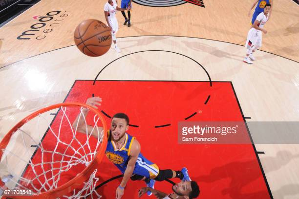 Stephen Curry of the Golden State Warriors shoots the ball against the Portland Trail Blazers in Game Three of the Western Conference Quarterfinals...