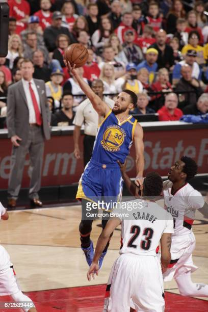 Stephen Curry of the Golden State Warriors shoots the ball against the Portland Trail Blazers in Game Four of the Western Conference Quarterfinals of...