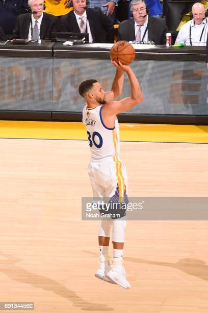 Stephen Curry of the Golden State Warriors shoots the ball against the Cleveland Cavaliers in Game One of the 2017 NBA Finals on June 1 2017 at...