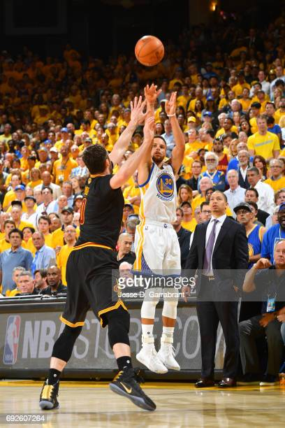 Stephen Curry of the Golden State Warriors shoots the ball against the Cleveland Cavaliers in Game Two of the 2017 NBA Finals at Oracle Arena on June...
