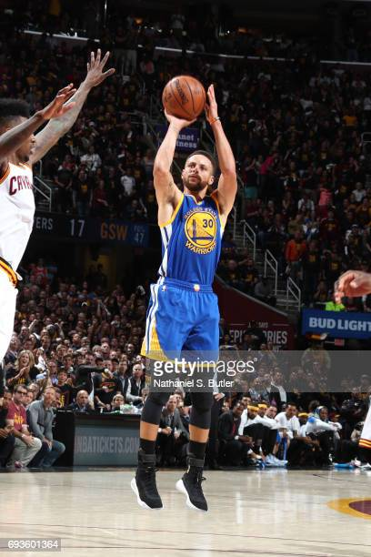 Stephen Curry of the Golden State Warriors shoots the ball against the Cleveland Cavaliers in Game Three of the 2017 NBA Finals on June 7 2017 at...