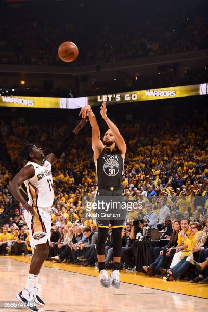 Stephen Curry of the Golden State Warriors shoots the ball against the New Orleans Pelicans in Game Two of the Western Conference Semifinals during...
