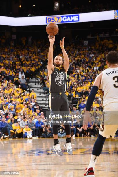 Stephen Curry of the Golden State Warriors shoots the ball against the New Orleans Pelicans in Game Two of Round Two of the 2018 NBA Playoffs on May...