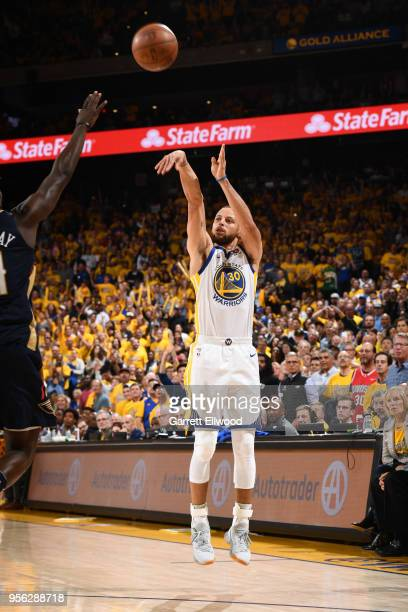 Stephen Curry of the Golden State Warriors shoots the ball against the New Orleans Pelicans in Game Five of the Western Conference Semifinals of the...