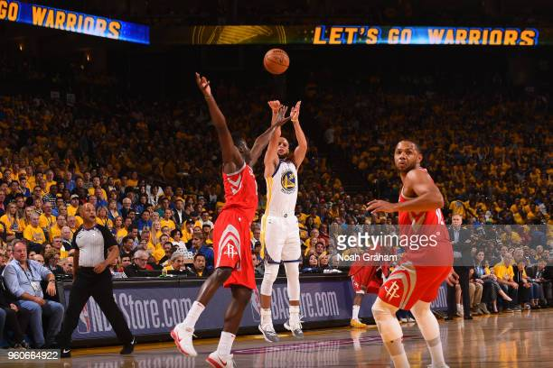 Stephen Curry of the Golden State Warriors shoots the ball against the Houston Rockets in Game Three of the Western Conference Finals of the 2018 NBA...