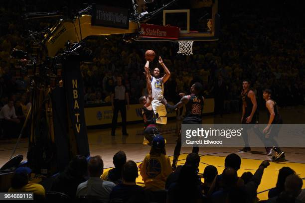 Stephen Curry of the Golden State Warriors shoots the ball against the Cleveland Cavaliers during Game One of the 2018 NBA Finals on May 31 2018 at...