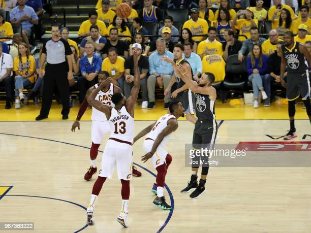 Stephen Curry of the Golden State Warriors shoots the ball against the Cleveland Cavaliers in Game Two of the 2018 NBA Finals on June 3 2018 at...