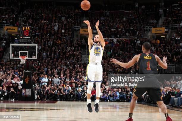 Stephen Curry of the Golden State Warriors shoots the ball against the Cleveland Cavaliers in Game Three of the 2018 NBA Finals on June 6 2018 at...