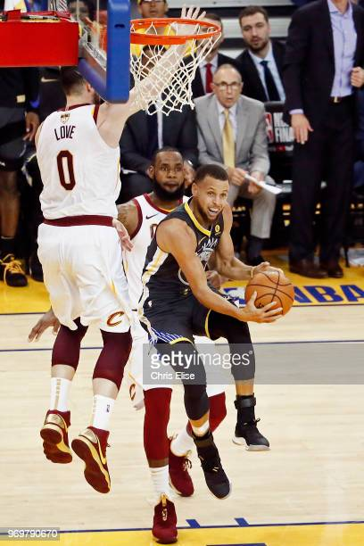 Stephen Curry of the Golden State Warriors shoots the ball against the Cleveland Cavaliers Game Two of the 2018 NBA Finals on June 3 2018 at ORACLE...