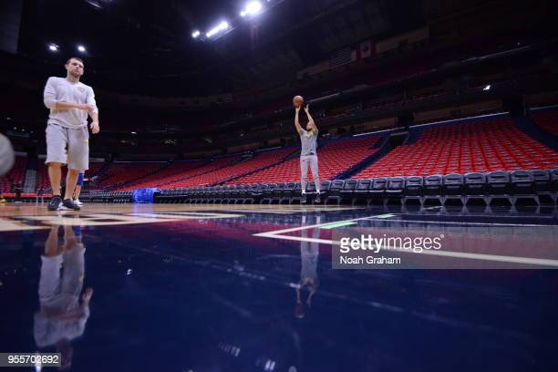 Stephen Curry of the Golden State Warriors shoots the ball during a practice on May 5 2018 at Smoothie King Center in New Orleans Louisiana NOTE TO...