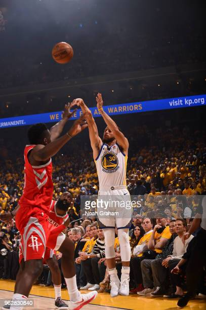 Stephen Curry of the Golden State Warriors shoots the ball during game against the Houston Rockets during Game Six of the Western Conference Finals...