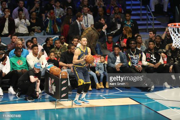 Stephen Curry of the Golden State Warriors shoots the ball during the 2019 Mtn Dew 3Point Contest as part of the State Farm AllStar Saturday Night on...