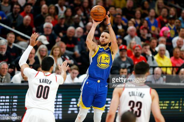 Stephen Curry of the Golden State Warriors shoots the ball during the second half against the Portland Trail Blazers in game three of the NBA Western...