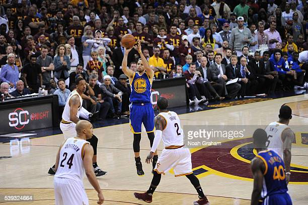 Stephen Curry of the Golden State Warriors shoots the ball during the game against the Cleveland Cavaliers in Game Four of the 2016 NBA Finals on...