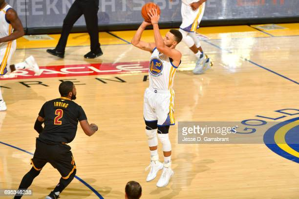 Stephen Curry of the Golden State Warriors shoots the ball during the game against the Cleveland Cavaliers in Game Five of the 2017 NBA Finals on...