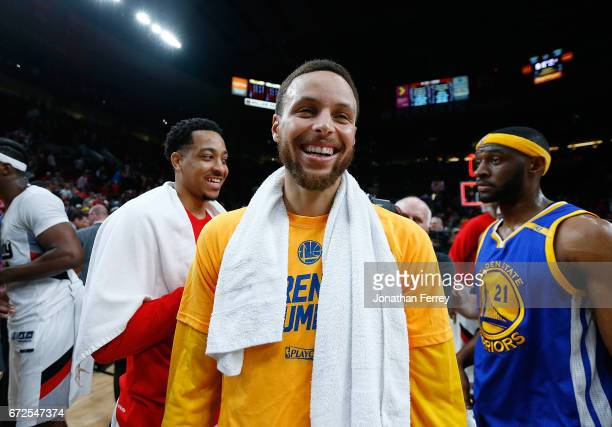 Stephen Curry of the Golden State Warriors smiles after defeating the Portland Trail Blazers during Game Four of the Western Conference Quarterfinals...