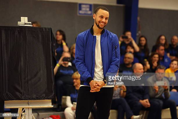 Stephen Curry of the Golden State Warriors smiles at his jersey retirement  ceremony at Charlotte Christian 64cd91bf9